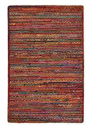 multi colour cotton jute braided rug jute cotton 120 x 180cm