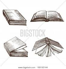 book set open and closed view hand draw sketch vine hardcover for education vector ilration