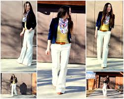 white bell bottoms tapering over sized jeans at waist and from upper thigh