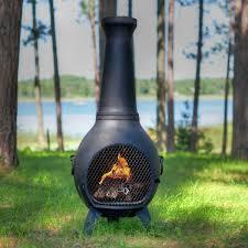 prairie style cast aluminum wood burning chiminea in charcoal