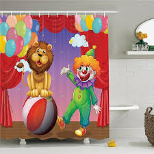 circus decor shower curtain set a lion and a clown at the circus stage theater curtain playing performance bathroom accessories