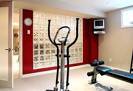 View in gallery Contemporary home gym with glass block