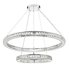 the lighting book wonder led double tier ceiling pendant crystal polished chrome led polished chrome