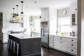 Small Picture Two Kitchen Islands with Black and White Stools Transitional