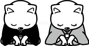 新年挨拶でおじぎ かわいい白黒の犬イラスト無料82824 素材good