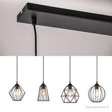 Eettafel Draad Hanglamp Zwart 4 Lichts Straluma