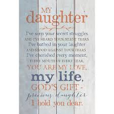 Daughter Wood Plaque With Inspiring Quotes 6x9 Classy Vertical Frame Wall Tabletop Decoration Easel Hanging Hook Christian Family Religious