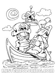 Garfield And Odie As Pirates Coloring Page Gaft Cartoon Coloring