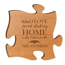 on personalized wall art gifts with personalized cherry wood 12 inch puzzle piece wall art