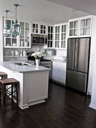 Dark Hardwood Floors Kitchen White Cabinets Picks Our Favorite Cottage Kitchens Glass Cabinetswhite In Decor