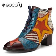socofy vintage patchwork star genuine leather boots women western cowboy ankle boots zipper lace up winter 2018 women shoes new