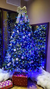 Christmas Christmas Tree Lights Christmas Tree With Blue Lights And White Ornaments