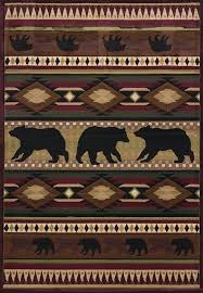 rustic cabin area rugs delectably native bear rug by john q united weavers designer contours in