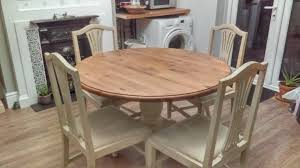 round pine table with 4 chairs pine top cream chalk paint base same as