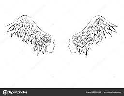 два крыла с человека крыльями крылья тату векторное изображение