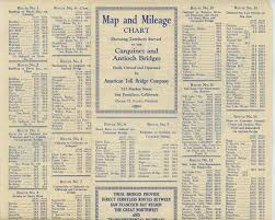 Map And Mileage Chart Showing Territory Served By The Carquinez And Antioch Bridges Built Owned And Operated By American Toll Bridge Company These