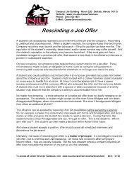 Rescinded Job Offer Intended For Employment Offer Letter Sample