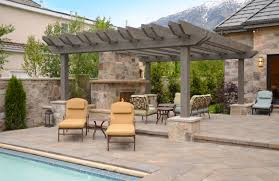 patio with fire pit and pergola. Cheap Pergola Kits Most Recommended Design Gray Stained Finish Wooden Posts Crossbeams Rafters Stone Fire Pit Feature Decoration Patio With And ,