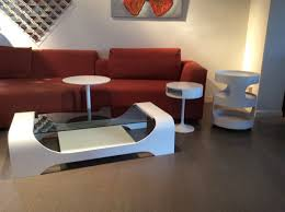 various manufacturers space age coffee table with matching luna opel mobile trolley and