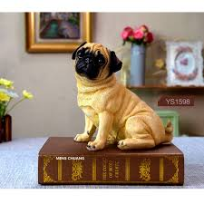 cute puppy statue simulation pug resin home decor birthday gift boxed action figure collectible model toy 17cm d66