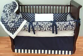 navy damask baby bedding