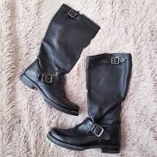 frye women s size 7 leather moto boots motorcycle buckle distressed black
