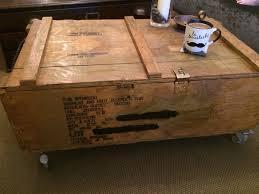un army rocket box coffee table vintage
