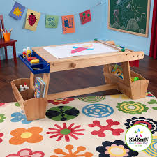 kidkraft art table with drying rack and storage co uk toys