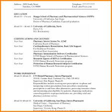 023 Pharmacy Curriculum Vitae Template Retail Pharmacist Resume