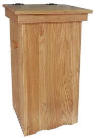 Attractive Wood Kitchen Trash Cans Amish Oak Hinge Top 30 Gal. Trash Can