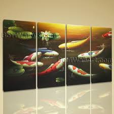 Paintings For Living Room Feng Shui Extra Large Koi Fish Painting Feng Shui Contemporary Printed