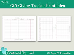Gift Tracker Day 9 Gift Giving Tracker Printable Scattered Squirrel