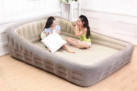 lounging furniture. Airbed Indoor Inflatable Beds King Pump Plush Bed Air Comfort Mattress Lounging Furniture Living Room E
