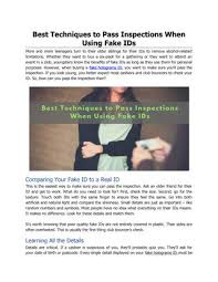 When Pass Inspections Best Ids Using To Issuu By - Fake-id Fake Techniques