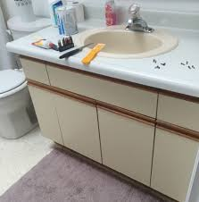 formica bathroom vanity. Rather Than Use Chalk Paint Like I Usually Do, Looked Into How To Laminate. Essentially All It Requires Is That The Surface Primed First And Then Formica Bathroom Vanity O