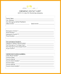 Employee Emergency Contact Information Template Emergency E Numbers List Template Number Free Printable