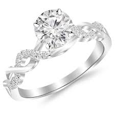 infinity wedding rings. 0.88 carat twisting infinity gold and diamond split shank pave set engagement ring with a 0.75 i-j i2 center | amazon.com wedding rings