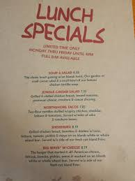 specials menu lunch specials menu yelp
