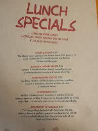 specials menu lunch specials menu yelp