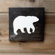 wood bear wall art 6x6 pine rustic nursery rustic decor staine