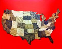 huge ' wood usa map wall decoration sculpture rustic decor road