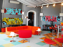 colorful modern furniture. Living Room : Colorful Modern Unique Design Ideas With L Shape Orange Sofa And Grey Palin Wall Also Red Shivel Chair Added Furniture V