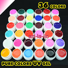 36 Pot Pure Color UV GEL Nail Art Tips Shiny Cover Extension ...