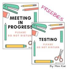 Meeting In Progress Testing Meeting In Progress Do Not Disturb Please Signs Freebie