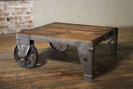 Coffee Table Wood Steel And Iron Cart Industrial Modern