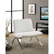 Overstock Living Room Chairs White Leather Look Chrome Metal Modern Accent Chair Free