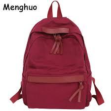 Menghuo High Quality <b>Women Canvas Backpack</b> Teenage Girls ...