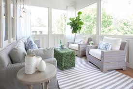 white indoor sunroom furniture. sunroom decor ideas rugs white curtains gray wicker chairs striped rug fiddle leaf fig stripe pattern coastal living room cozy sofa indoor furniture