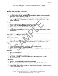 Work Description Form Restaurant Server Job Description Workplace Wizards
