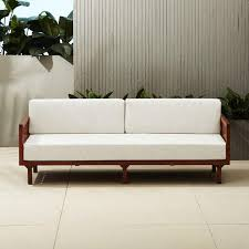 captivating wooden arm off white upholstered sofa